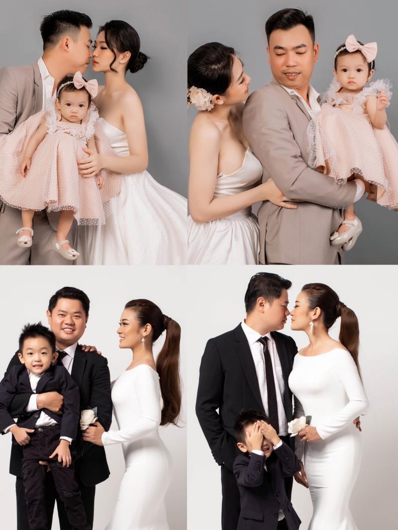 Phong cách bridal được đưa vào ý tưởng ảnh gia đình