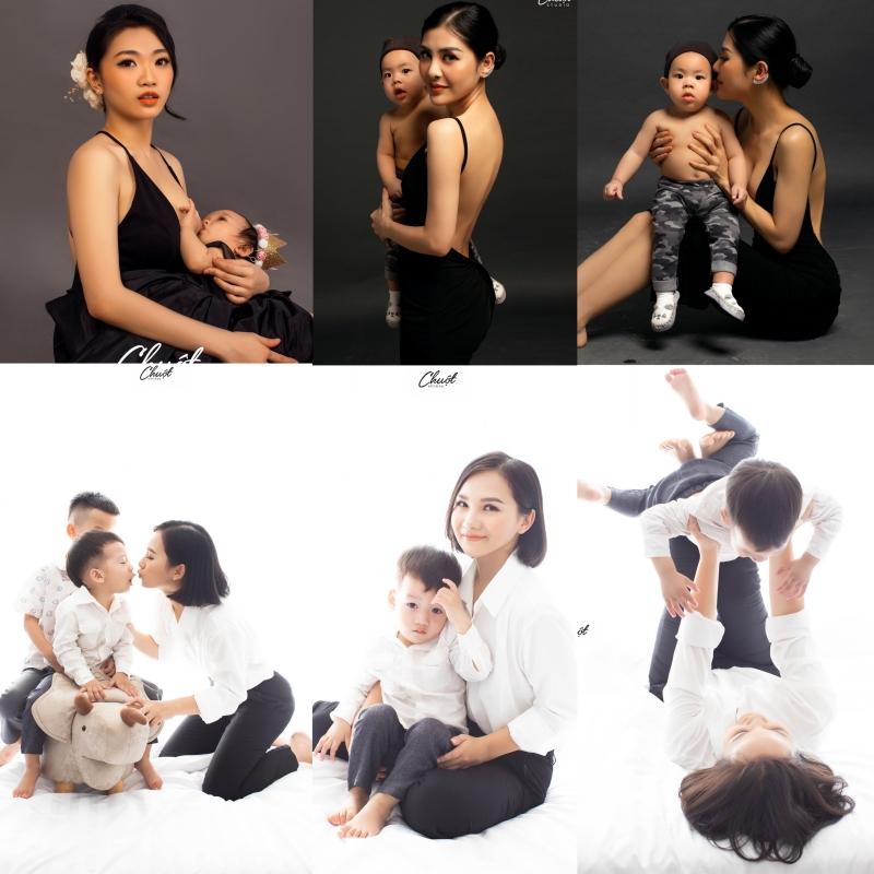 Ảnh mẹ và bé phong cách đối lập trắng đen