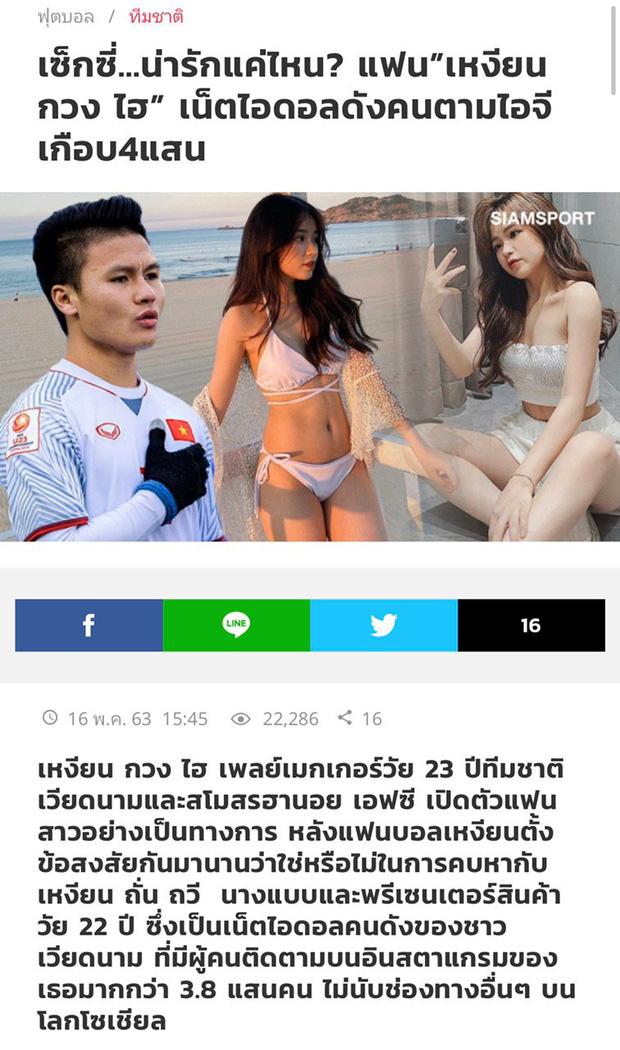 Siam Sport đưa tin về Quang Hải và bạn gái mới