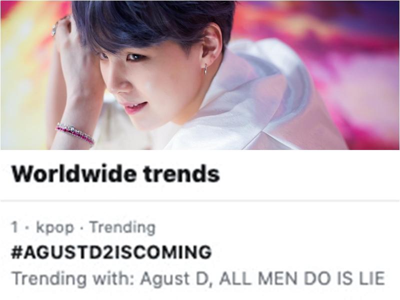 Chỉ sau vài giờ tin tức này nổ ra, hashtag #AGUSTD2ISCOMING đã nhảy vọt lên top 1 trending Twitter thế giới, chứng tỏ sức ảnh hưởng khủng khiếp của Agust D – Suga.