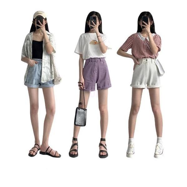 Quần short là một trong những item không thể thiếu mỗi dịp hè đến. Hãy áp dụng cách phối đồ mang xuhướng màu sắc tối giản như trắng, tím pastel hoặc jean sáng màu kết hợp với những kiểu áo đơn giản như áo phông, áo hai dây đơn sắc cũng giúp nàng 'xinh hết nấc'.