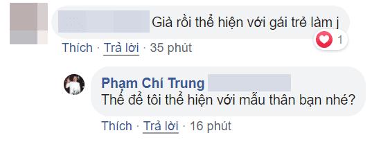 Chí Trung đáp trả bình luận khiếm nhã của anti fan