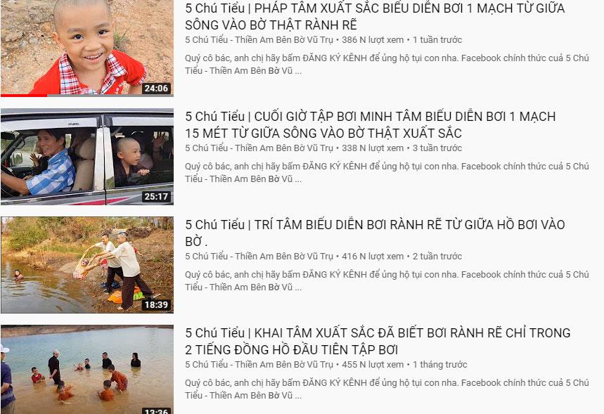 Các clip tập bơi của 5 chú tiểu được đăng tải đều đặn và nhận về lượng view ổn định trên Youtube.