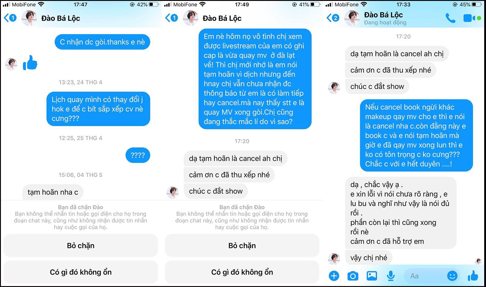 Đoạn trò chuyện của Quách Hiền Tùng và Đào Bá Lộc được cô đăng tải kèm trong bài viết