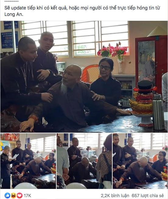 Nhóm người tại 'Tịnh thất Bồng Lai' trong ngày kiểm tra hành chính.