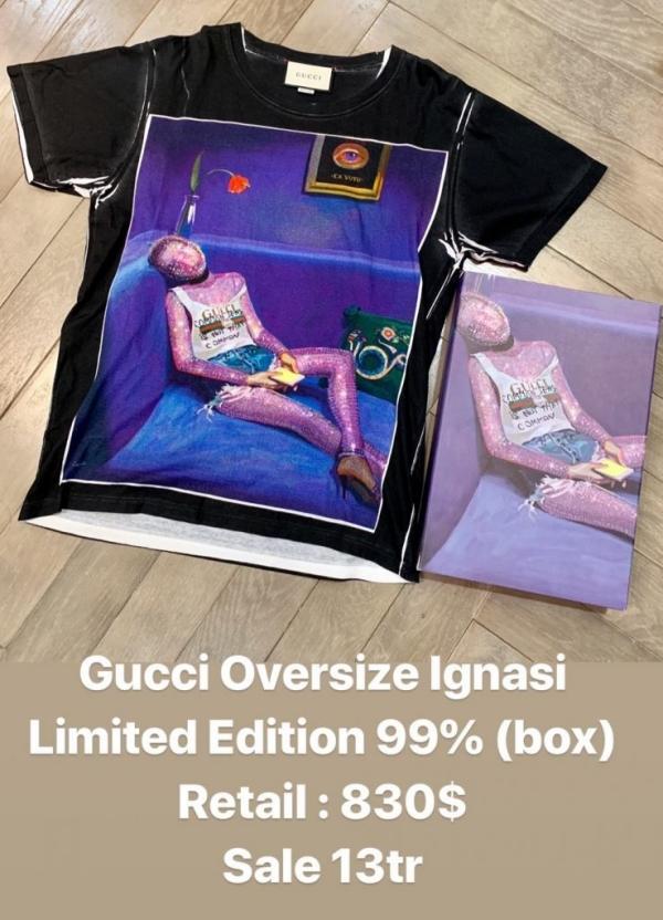 Với đồ còn mới thì giá sẽ đắt hơn chút, như áo Gucci phiên bản giới hạn này được bán giá 13 triệu VNĐ.