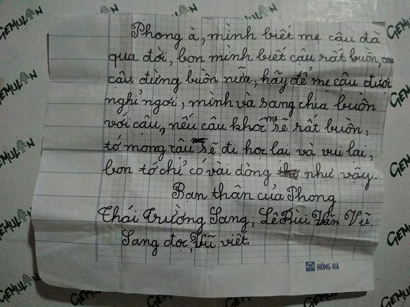 Bức thư mà em trai cô gái nhận được từ những người bạn thân.