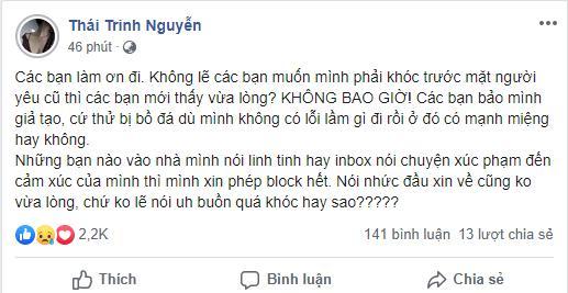 Thái Trinh phản ứng gay gắt khi bị nói giả tạo: Cứ thử bị bồ đá dù mình không có lỗi lầm gì đi 1