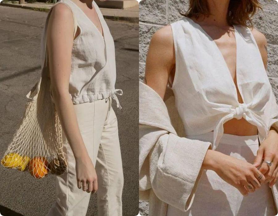 Những thiết kế crop top, áo hai dây với chất vải đũi thô mát nhìn thôi đã đủ làm dịu hẳn cái nắng nóng ngày hè.