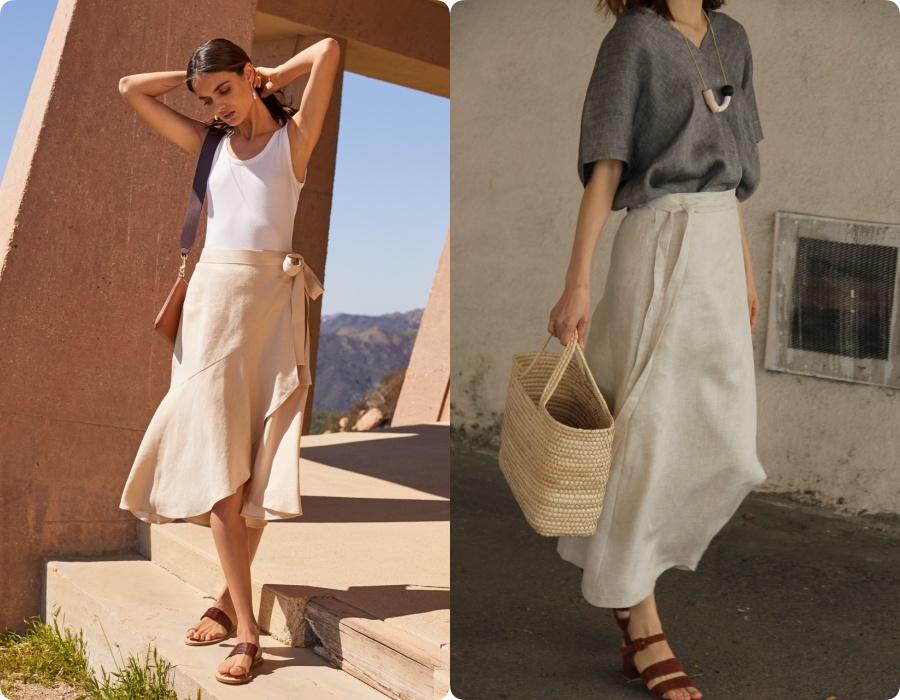 Hè năm nay, chân váy vải đũi không chỉ dừng lại ở những thiết kế suông cơ bản mà còn điểm thêm cả chi tiết xếp bèo điệu đà để các nàng tha hồ làm điệu.