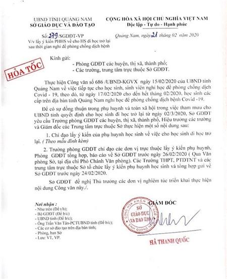 Sở GD-ĐT tỉnh Quảng Nam tổ chức lấy ý kiến phụ huynh về thời điểm đi học lại
