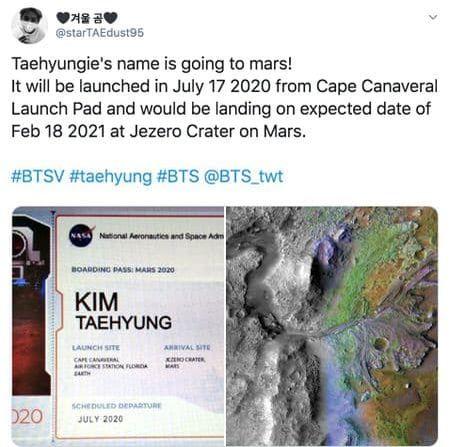Tên thật của V sẽ được gửi lên sao Hỏa vào năm sau bởi chiếc rover Mars 2020.