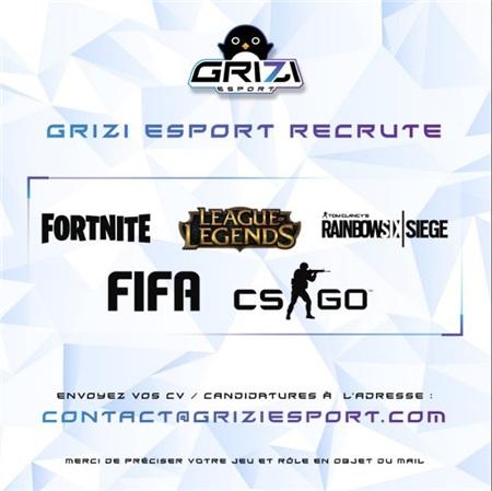 Thông báo của Grizi Esports rằng họ đang tìm kiếm tài năng tại các tựa game Fortnite, LMHT, R6, FIFA và CS:GO