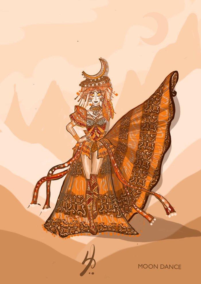Mẫu thiết kế National Costume mà NTK Ngô Mạnh Đông Đông lên tiếng tố 'hoa hậu ẩn danh' hủy đơn đặt hàng ngay ở phút chót.