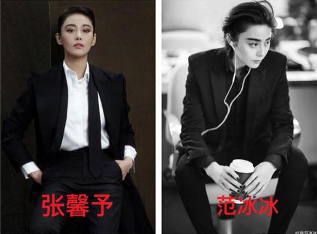 Phong cách menswear cá tính giữa hai nàng mỹ nhân Cbiz với bộ trang phục suit đen