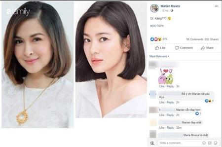 Ngay lập tức nhiều người nhận xét kiểu tóc này khiến cô trông giống Song Hye Kyo, thậm chí có fan còn mạnh dạn bình luận cô đẹp hơn hẳn Song Hye Kyo khi cùng để một kiểu tóc.