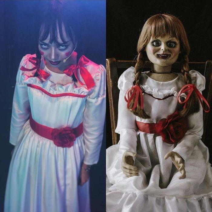 Hình ảnh so sánh cực lầy của Diệu Nhi với nhân vật búp bê ma ám.