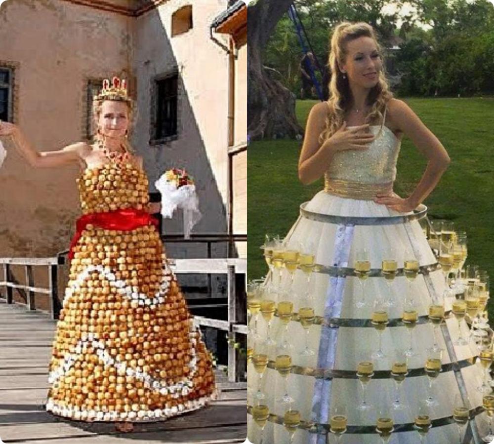 Chơi nhất chắc là cô dâu diện váy rượu vang, di chuyển chắc nhẹ nhàng rón rén lắm chứ mà vội một cái là 'toang' ngay.