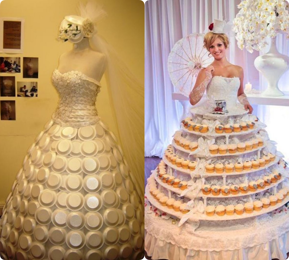 Chẳng những kết bóng thành váy, còn có cả đĩa nhựa... thậm chí cô dâu này còn mặc nguyên cả lồng bánh gato, chắc đi đến đâu mời khách đến đấy cho tiện bề xoay xở.