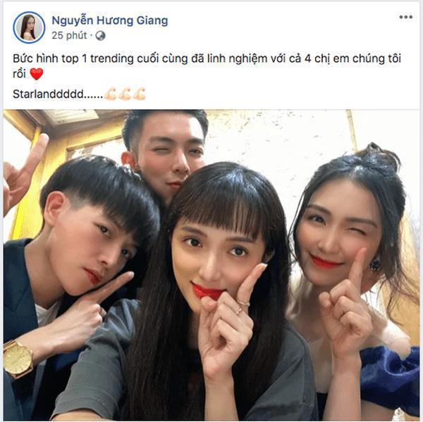 Bức ảnh Top 1 Trending mà Hương Giang và 'gia đình hoa dâm bụt' từng chụp hồi đầu năm, nay lại được họ tái hiện
