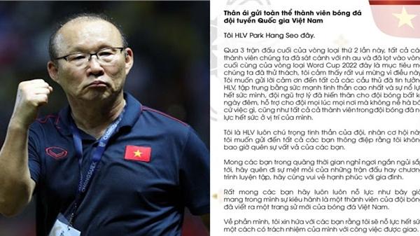 HLV Park Hang Seo viết tâm thư nhắn nhủ học trò: 'Hãy dành thời gian nghỉ ngơi ngắn ngủi bên gia đình'