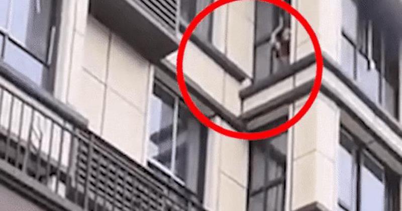 Người hùng tay không leo lên tầng 3 giải cứu cháu bé mắc kẹt trong đám cháy, cảnh tượng khiến dân tình nín thở vì hồi hộp