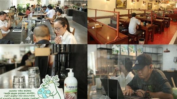 Hà Nội ngày đầu nới lỏng giãn cách: Cafe, quán ăn tấp nập, trang bị vách ngăn chống dịch