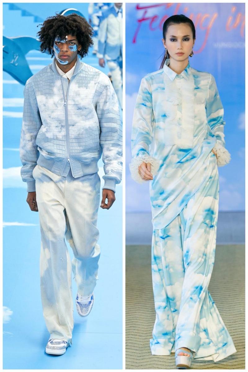 Cùng với đó, các thiết kế mới nhất của Louis Vuitton trong BST Thu - Đông 2020 dành cho nam giới dùng họa tiết đám mây cũng gợi nhớ về concept quay về tuổi thơ. Đây cũng là họa tiết chính mà Vũ Ngọc & Sonlăng xê trong BSTXuân - Hè 2016 trong show diễn Falling in love rất thành công trước đó.